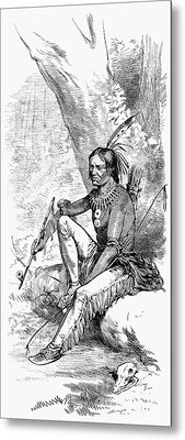 Native American With Pipe Metal Print by Granger