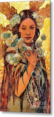 Native American Woman 1905 Metal Print by Padre Art