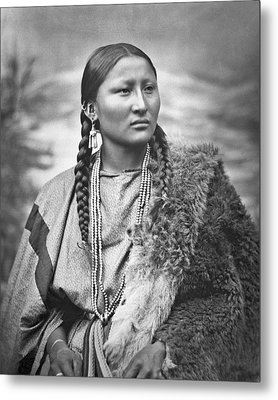 Native American Woman War Chief Pretty Nose Metal Print by MotionAge Designs