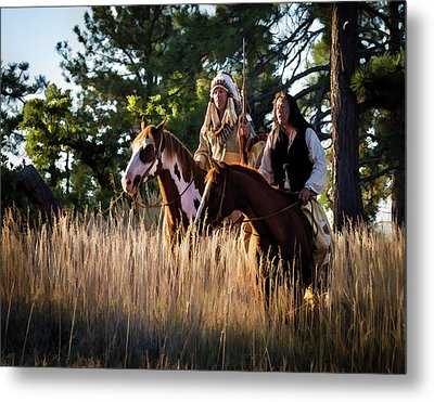 Native Americans On Horses In The Morning Light Metal Print