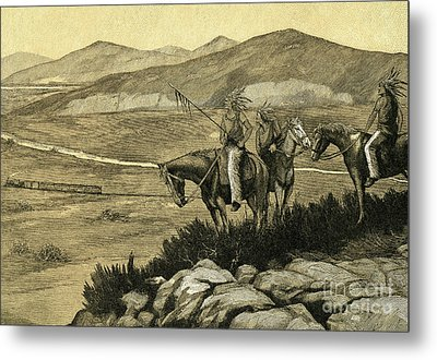 Native Americans Watching A Locomotive Traverse The American West Metal Print by American School