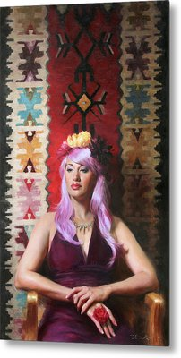 Native Daughter Modern Woman Metal Print by Anna Rose Bain