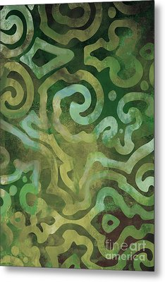Native Elements In Green Metal Print