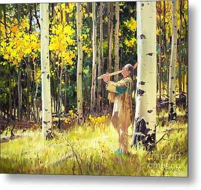 Native Sound In The Forest Metal Print by Gary Kim