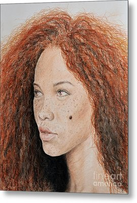 Natural Beauty With Red Hair  Metal Print