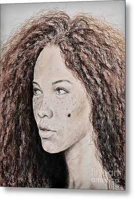Natural Beauty With Red Hair Version II Metal Print