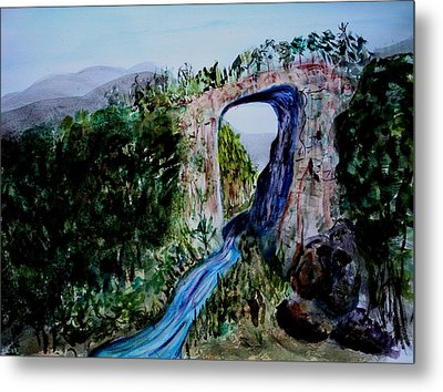 Metal Print featuring the painting Natural Bridge In Virginia by Donna Walsh