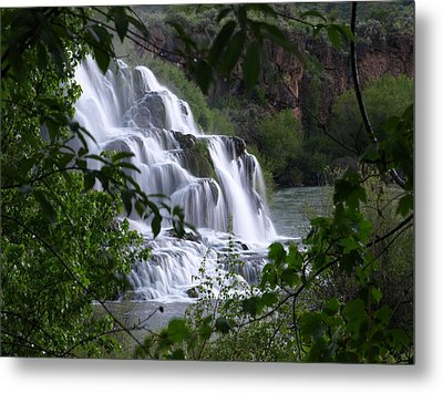 Nature's Framed Waterfall Metal Print by DeeLon Merritt