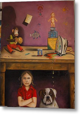 Naughty Child Metal Print by Leah Saulnier The Painting Maniac