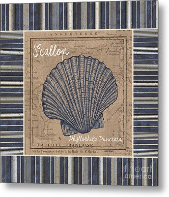 Nautical Stripes Scallop Metal Print
