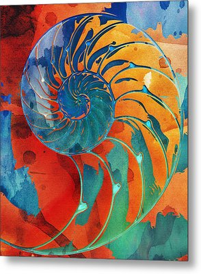 Nautilus Shell Orange Blue Green Metal Print