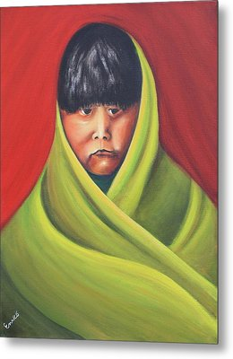 Navajo Child After E.s. Curtis Metal Print