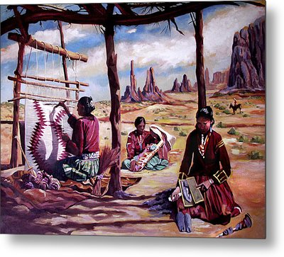 Navajo Weavers Metal Print by Nancy Griswold