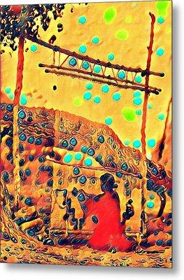 Navajo Woman Weaving 1 Metal Print