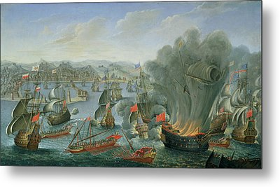 Naval Battle With The Spanish Fleet Metal Print