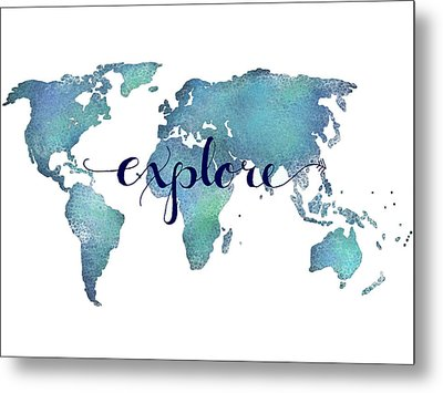 Navy And Teal Explore World Map Metal Print by Michelle Eshleman