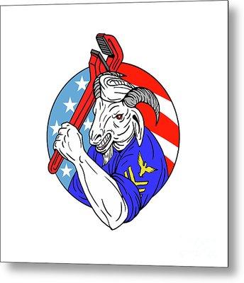 Navy Goat Holding Pipe Wrench Usa Flag Circle Retro Metal Print by Aloysius Patrimonio