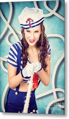 Navy Sailor Pinup Girl In Tug Of War Battle Metal Print