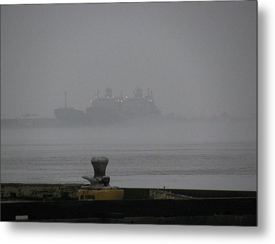 Navy Ships In The Fog Metal Print by Tom Hefko