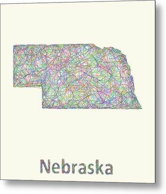 Nebraska Line Art Map Metal Print
