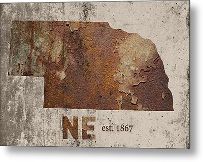 Nebraska State Map Industrial Rusted Metal On Cement Wall With Founding Date Series 039 Metal Print by Design Turnpike