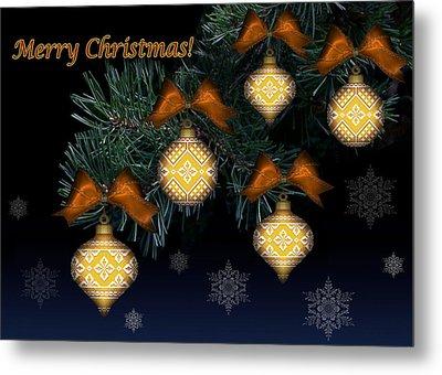 Needlework Christmas Ornaments II Metal Print by Stoyanka Ivanova