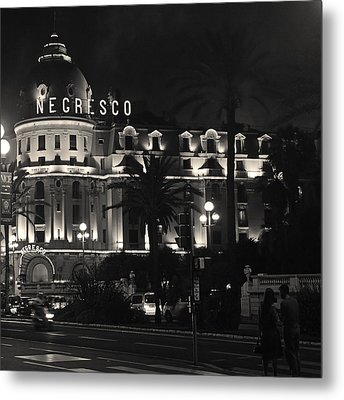 Metal Print featuring the photograph Negresco At Night by Ron Dubin
