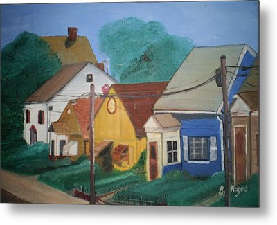 Metal Print featuring the painting Neighbors by Barbara Hayes