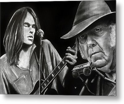 Neil Young And Neil Old Metal Print