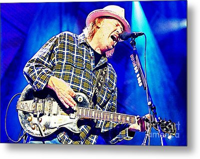 Neil Young In Concert Metal Print by John Malone