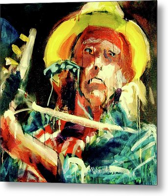 Metal Print featuring the painting Neil Young by Les Leffingwell