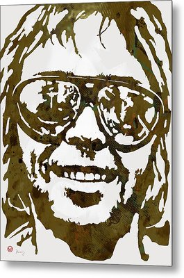 Neil Young Pop  Stylised Art Sketch Poster Metal Print by Kim Wang