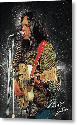 Neil Young Metal Print by Taylan Apukovska