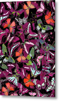 Neon Butterfly Vertical Metal Print