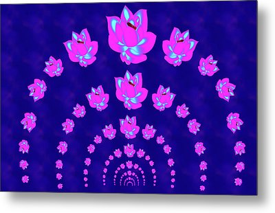 Neon Pink Lotus Arch Metal Print by Samantha Thome