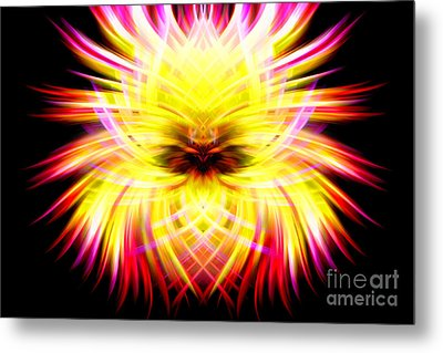 Neon Puffer Fish Metal Print by Cherie Duran