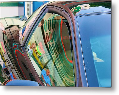 Metal Print featuring the photograph Neon Reflections On A Black Car by Polly Castor