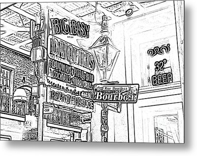 Neon Sign On Bourbon Street Corner French Quarter New Orleans Black And White Photocopy Digital Art Metal Print by Shawn O'Brien