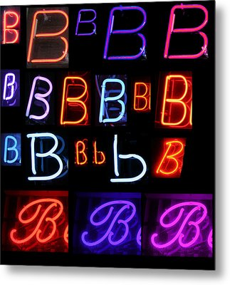 Neon Sign Series Featuring The Letter B  Metal Print by Michael Ledray