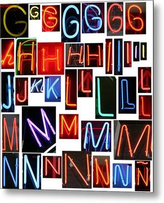 neon sign series G through N Metal Print by Michael Ledray