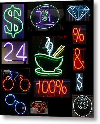 Neon Sign Series Of Various Symbols Metal Print by Michael Ledray
