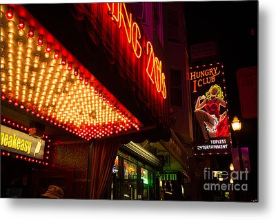 Neon Signs At Night In North Beach San Francisco With Light Bulb Awning Metal Print by Jason Rosette