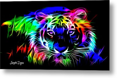 Neon Tiger Metal Print by Leonardo Digenio