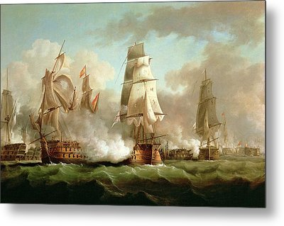 Neptune Engaging Trafalgar Metal Print by J Francis Sartorius