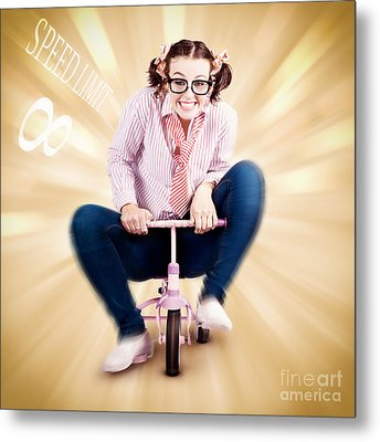 Nerd Breaking The Speed Of Sound On Kids Bicycle Metal Print