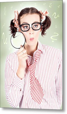 Nerdy School Girl Student With Education Question Metal Print by Jorgo Photography - Wall Art Gallery