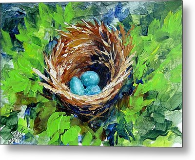 Metal Print featuring the painting Nesting Eggs by Gloria Turner