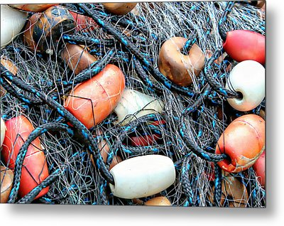 Nets With Orange And White Buoys Metal Print by Lynn Jordan