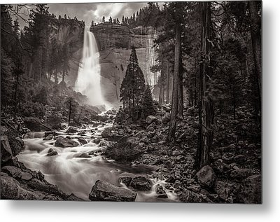 Metal Print featuring the photograph Nevada Fall Monochrome by Scott McGuire