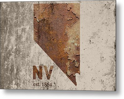 Nevada State Map Industrial Rusted Metal On Cement Wall With Founding Date Series 044 Metal Print by Design Turnpike
